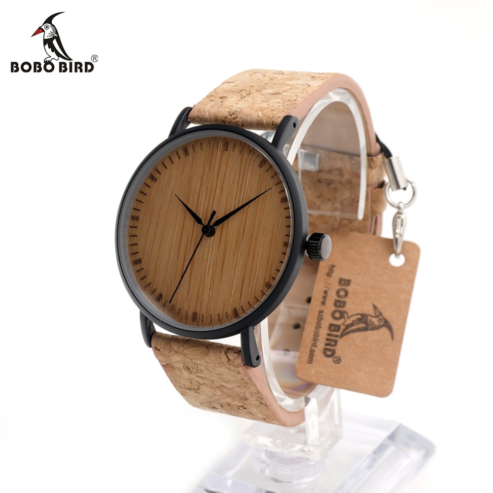 BOBO BIRD CcE19 Bamboo Dial Fashion Wooden Watches Mujer Quartz Clock Leather Band Stainless Steel Case