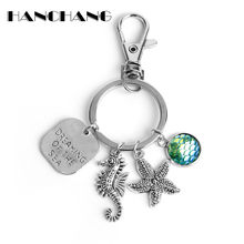 Little Mermaid Fish Scale Keychain Key Chains Dreaming of the Sea Initial Letters Personalized Keyrings Fashion Jewelry(China)