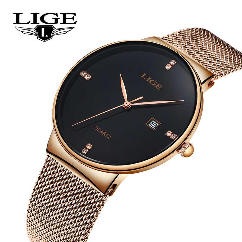Reloj para mujer 2019 LIGE, reloj de cuarzo negro y oro rosa, Casual, impermeable, Simple, reloj para mujer, reloj de pulsera para mujer, reloj femenino