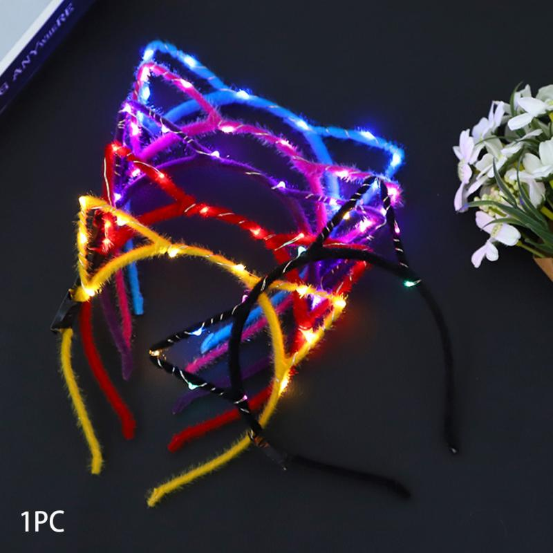 1PC Cute Cat Ear Shaped LED Headbands Party Light Up Flashing Blinking Party Wear Christmas Hair Accessories Glow Party Supplies