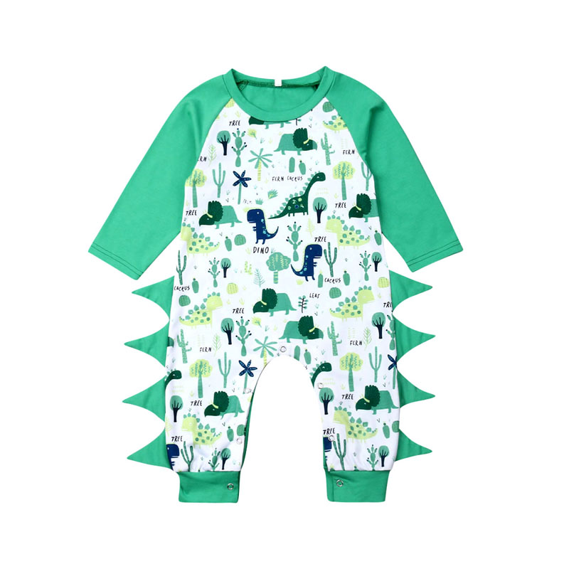 Focusnorm 0-18M Toddler Newborn Baby Girl Boy Dinosaur Romper Long Sleeve O-Neck Jumpsuit Playsuit Cotton Fall Clothes