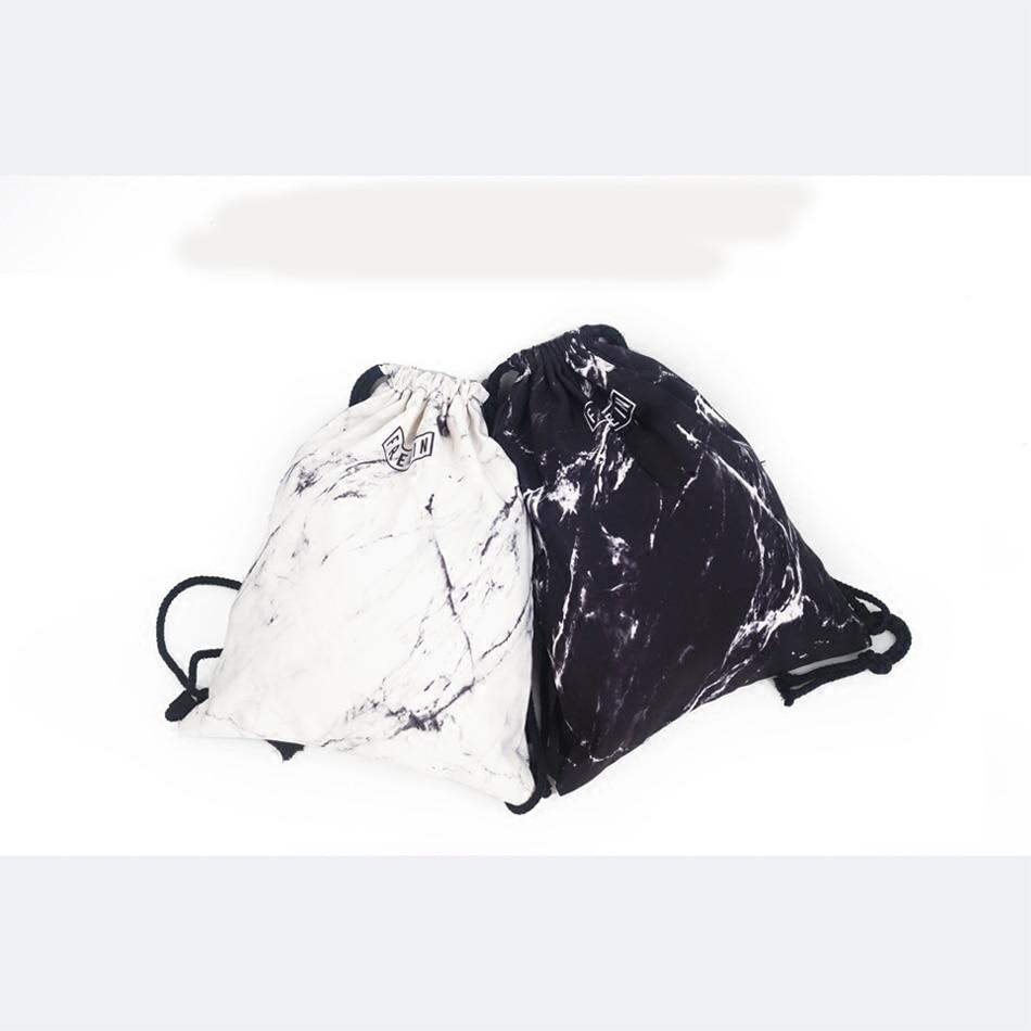 Черно-белая текстура напечатанные мешки Drawstring простой рюкзак новый элегантный дизайн drawstring сумка уличный стиль унисекс рюкзак