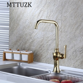 MTTUZK golden brass kitchen faucet  basin faucet single handle hot&cold mixer tap deck mounted torneira free shipping