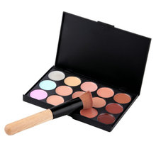 15 Color Contour Face Cream Makeup Concealer Palette with Sponge Puff and Wooden Powder foundation Brush yks New beauty easy new arrival 15 colors face cream concealer palette 20pcs maquiagem brush powder puff wemen s make up cosmetics set