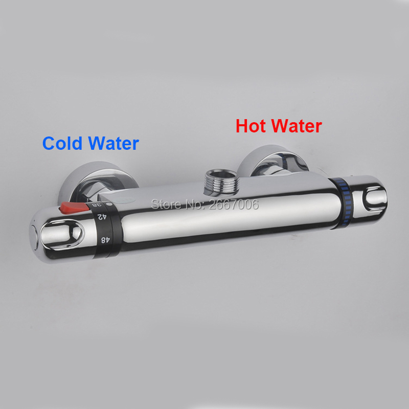 Free Shipping Reverse Hot & Cold Wall Mount Bathroom Brass Thermostatic Temperature Control Shower Valve Faucet Mixer Tap GI903 china sanitary ware chrome wall mount thermostatic water tap water saver thermostatic shower faucet