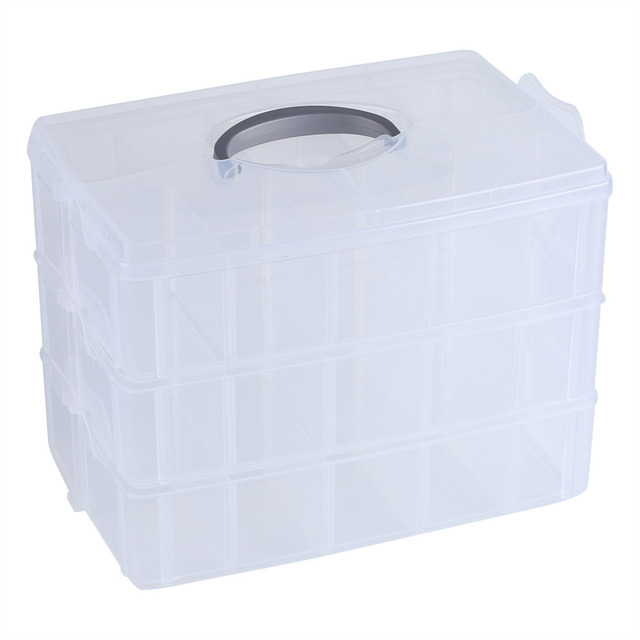 3 Layers Clear Plastic Jewelry Bead Storage Box Container Craft Storage Box  Jewelry Organizer Holder Cabinets