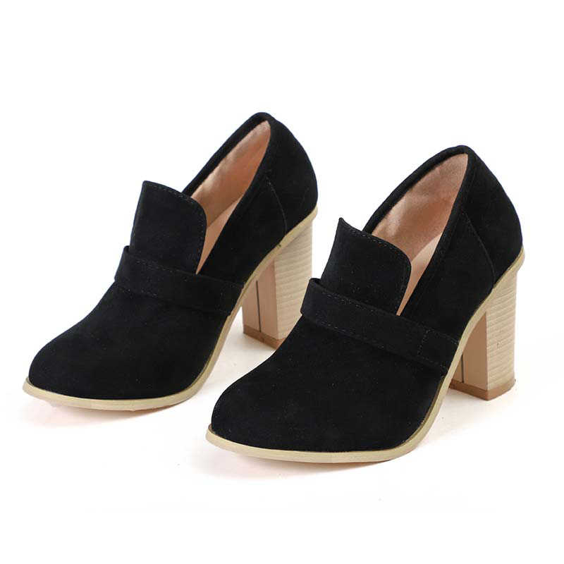 2019 г., весенние женские туфли-лодочки больших размеров женская обувь на платформе с не сужающимся книзу массивным каблуком элегантная женская обувь из флока с круглым носком