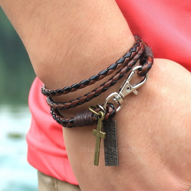 Most Incredible Price! Manufacturers Wholesale Fashion 3 Layer Pu Leather Bracelet, Best Gift Free Shipping