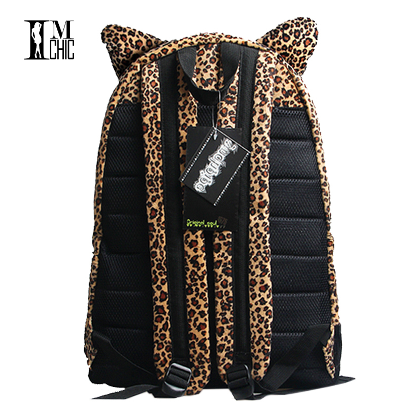 Brand Design Women Backpacks Nylon Plush Leopard Animal Print School Girl  Bags Cartoon Fashion Travel Package Laptop Bag 3179-in Backpacks from  Luggage ... 505402e9f7775