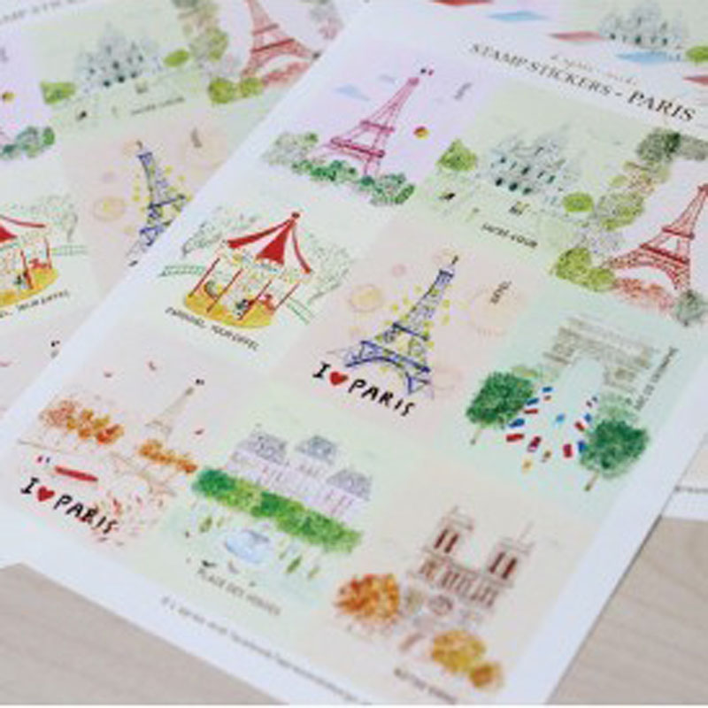3sheets Paris London Royal Style Retro Stamp Seal Stickers For DIY Diary Notebook Album Scrapbooking Decoration 10.5x15cm
