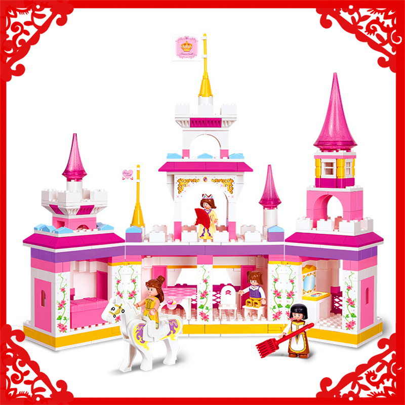 SLUBAN 0251 Block Dream Series Princess Castle Model 385Pcs Educational  Building Toys Gift For Children Compatible Legoe sluban 2500 block vehicle maintenance repair station 414pcs diy educational building toys for children compatible legoe