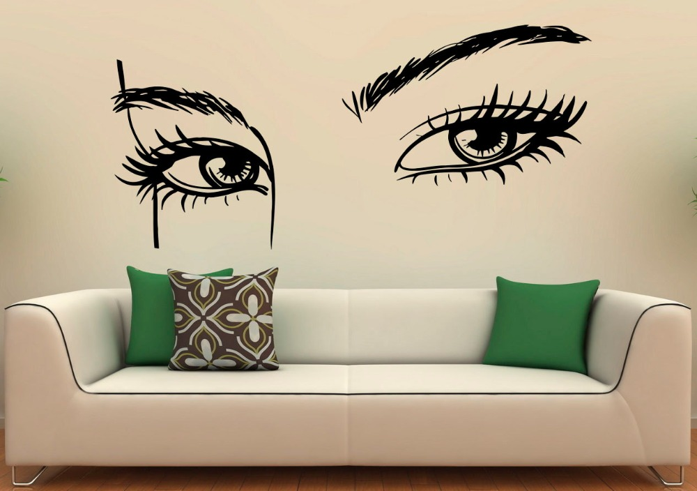 US $9.82 25% OFF|Hohe Qualität Mädchen Augen Wandtattoo Beauty Salon  Wandsticker Wohnzimmer Make Up Frau Kunstwand Innen Home Decor DIY  SYY877-in ...