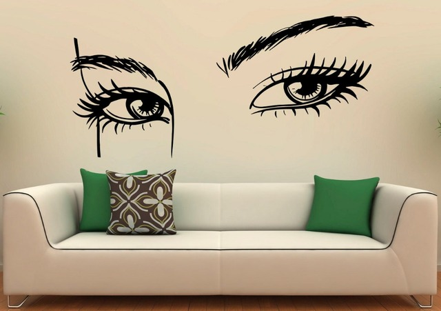 US $10.48 20% OFF|Hohe Qualität Mädchen Augen Wandtattoo Beauty Salon  Wandsticker Wohnzimmer Make Up Frau Kunstwand Innen Home Decor DIY SYY877  in ...