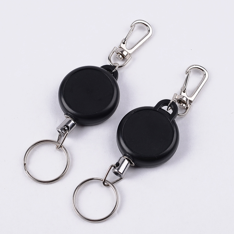 Simple Black 60cm Length Badge Holder Reel Retractable Recoil Pass ID Card Holders Pull Key Ring Steel Cord Office Supplies