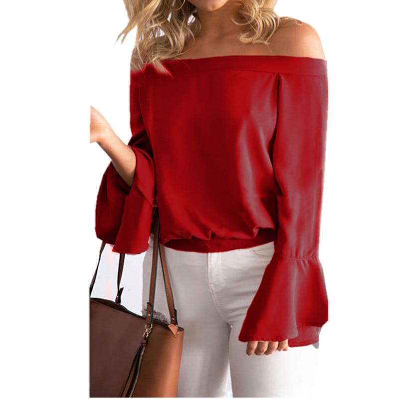 Celmia Sexy Off Shoulder Summer Women Blouse 2017 <font><b>Trend</b></font> Slash Neck Long Flare Sleeve Casual Loose Tops Shirts Plus Size Blusas