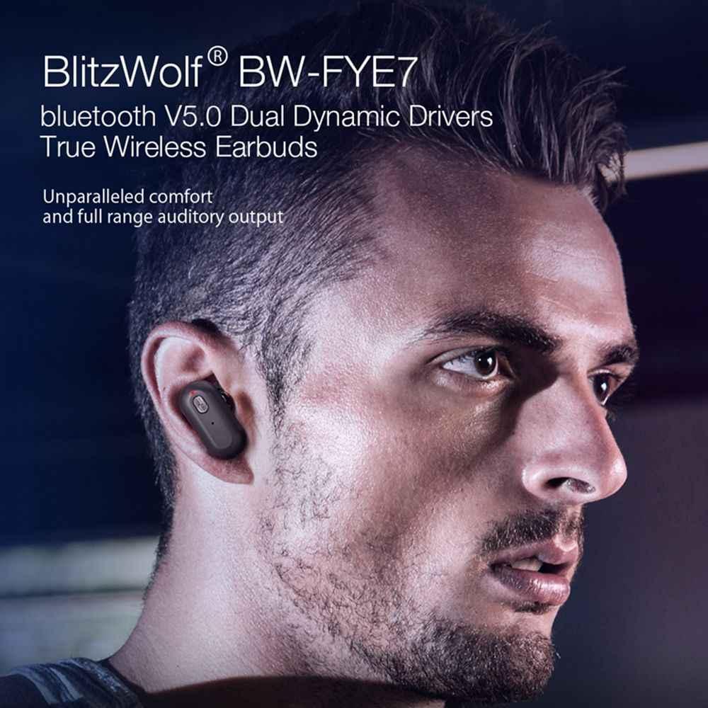[נהג דינמי כפול] Blitzwolf BW FYE7 TWS Bluetooth 5.0 ספורט באוזן ריצת אוזניות אלחוטיות בס סטריאו דו צדדי שיחות אוזניות Hifi מוסיקה אוזניות אלחוטיות אמיתיות סוללה גדולה
