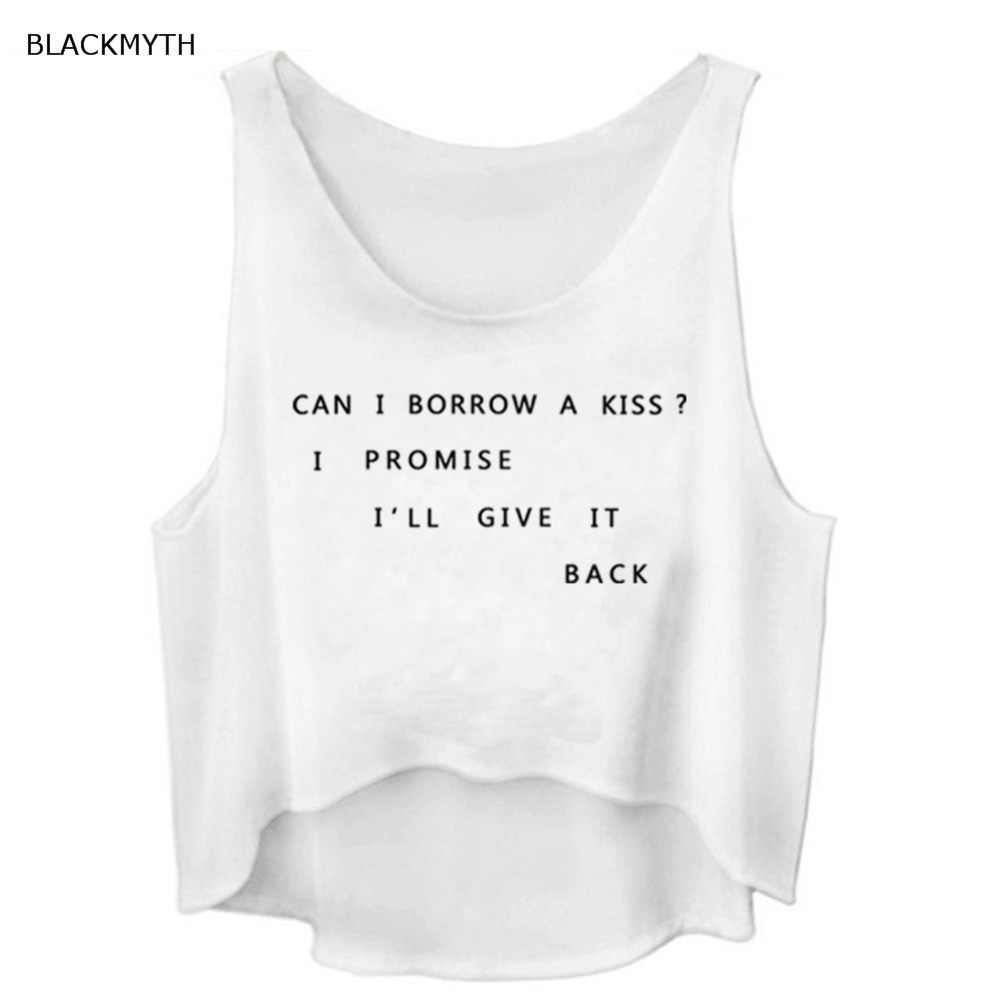 5cff44eac63 ... BLACKMYTH Summer Funny Print Letter Sleeveless Fashion Black White Women  Tanks Cropped Top Vest T shirt ...