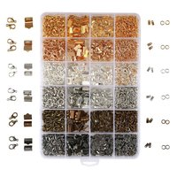 2460PCS Box 24 Style 6 Color Jewelry Findings Kit Open Jump Rings Lobster Clasps Cord Ends
