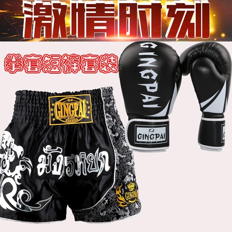New arrivals Boxing combain products 1 pair boxing gloves+1pc muay Thai Trunks MMA Boxing Sanda Shorts Martial Arts Pants