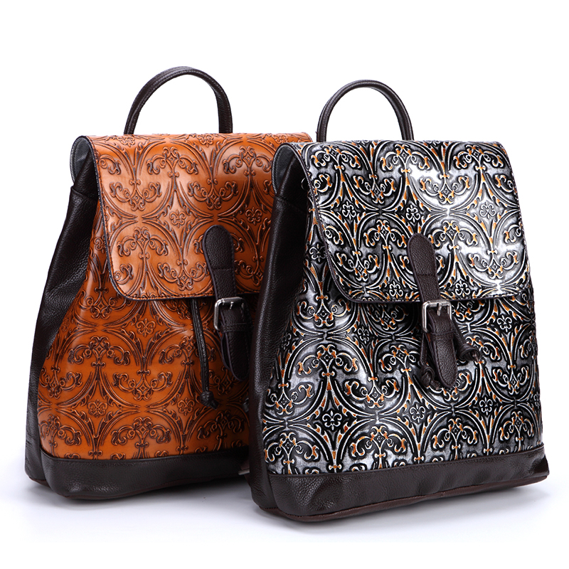 High Quality Genuine Leather Women Backpack Embossed Knapsack Girls School Daypack Bags Travel Ladies Retro Trend Rucksack High Quality Genuine Leather Women Backpack Embossed Knapsack Girls School Daypack Bags Travel Ladies Retro Trend Rucksack