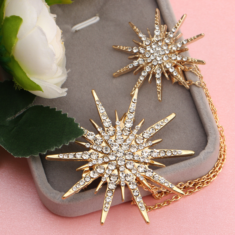 Hesiod Fashion Women Brooch Crystal Charm Star Sparking Chain Brooches Lady Dress Decoration Wholesale 2