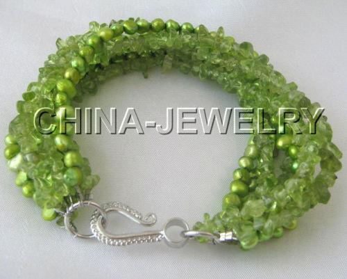 Wholesale price 16new  Beautiful 8 6row Genuine Natural peridot and freshwater pearl bracelet