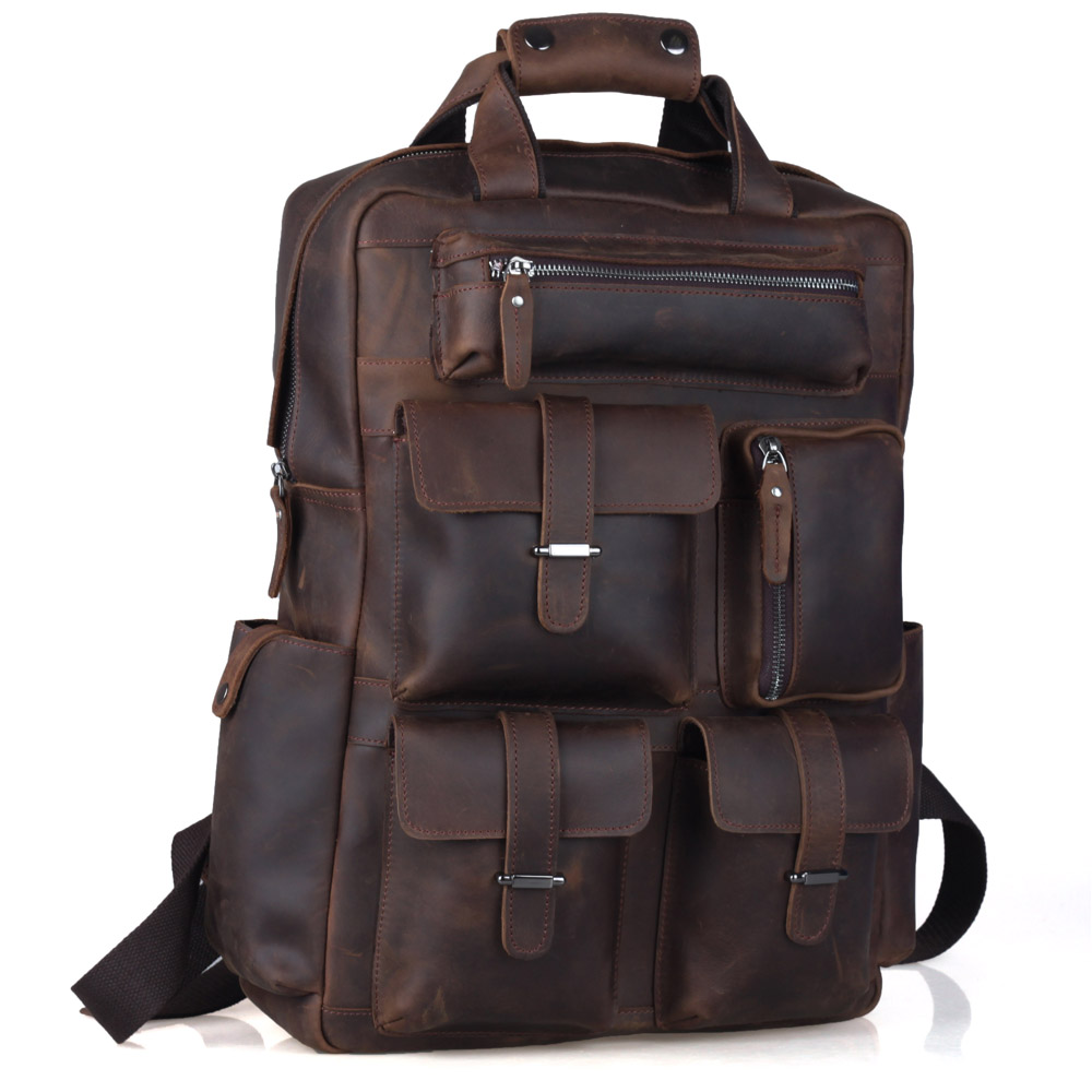 TIDING Weekender Bag Crazy Horse Leather Backpacks Casual Style Carry On Travel bag 3081 tiding cool cowhide leather laptop backpack day pack activity travel weekender overnight bag 30813