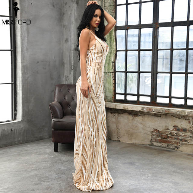 40f1225022 US $42.99 14% OFF|Missord 2019 Sexy Graceful V Neck Off Shoulder Sequin  Dresses Female Maxi Party Dress Vestidos FT8927 1-in Dresses from Women's  ...