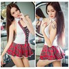 New Fashion Sexy Lingerie Hot College Wind Red Plaid Open Bra Backless Cosplay Student Erotic Lingerie