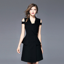 Summer new women's Slim big code temperament professional suit dignified pocket Button Top atmosphere strapless waist dress