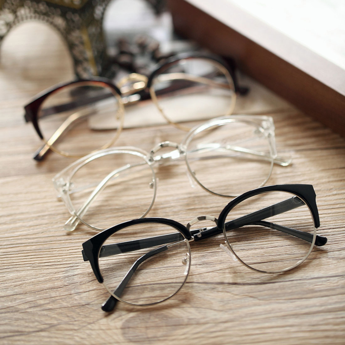 Optical-Glasses Goggles Glass-Spectacles Semi-Circle-Frame Plain Plastic Vintage Women