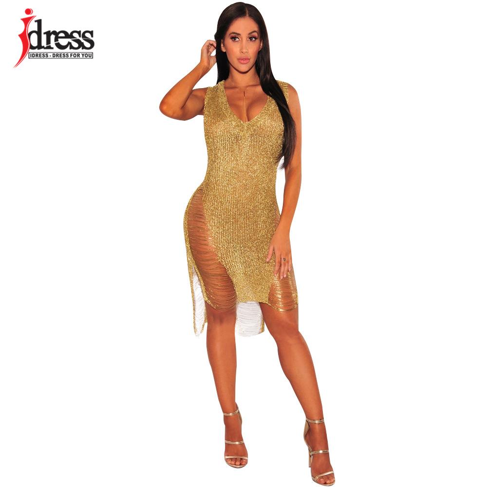 IDress 2017 Sexy Deep V Neck Hollow Out Golden String Knitting Summer Bodycon Women Dresses Sleeveless Mini Club Dress Vestidos (5)