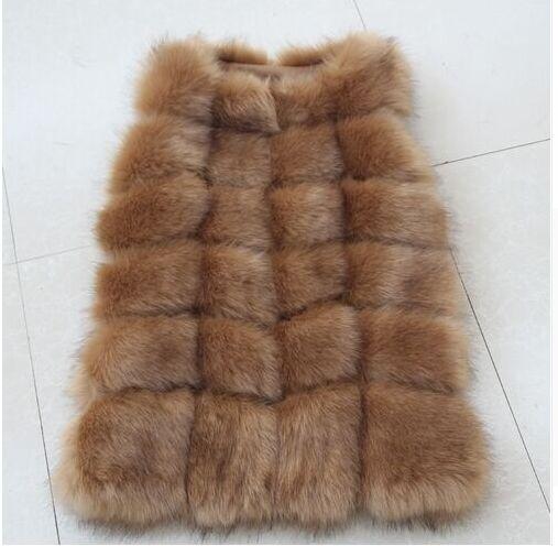 Высококачественная меховая жилетка, роскошное пальто из искусственного лисьего меха, теплое Женское пальто, жилетки, Зимняя мода, меховые женские пальто, куртка, жилетка, жилет, 4XL - Цвет: Camel color