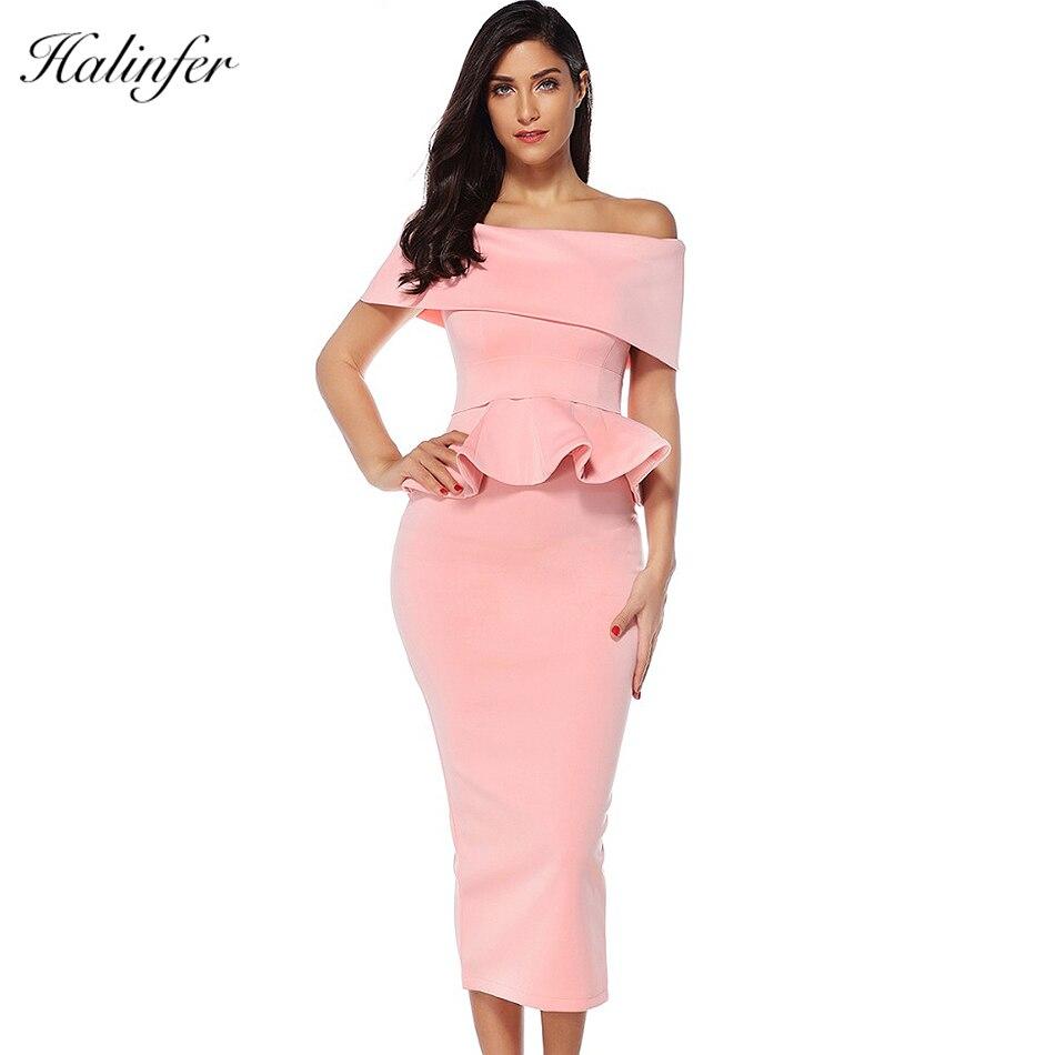 Halinfer 2018 nouveau été femmes robe sexy moulante slash cou ceintures 2 pièces robe célébrité fête rose kaki robes vestidos