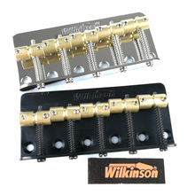купить Wilkinson WBBC5 Five 5 Strings Electric Bass Bridge With Brass Saddles For Precision Jazz Bass Chrome Silver Black дешево