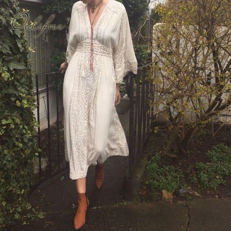 Ordifree 2019 été Boho Maxi robe Vintage Kimono robe à pois imprimé femmes longue tunique robe de plage