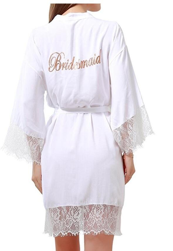 Women's Cotton Kimono Short Robes with Gold Glitter for Bridesmaid and Bride with Lace Tri