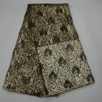 Best Quality African Lace Fabric Black Gold Lace High Quality Embroidery French Mesh With Sequins Nigeria Lace Fabric 30
