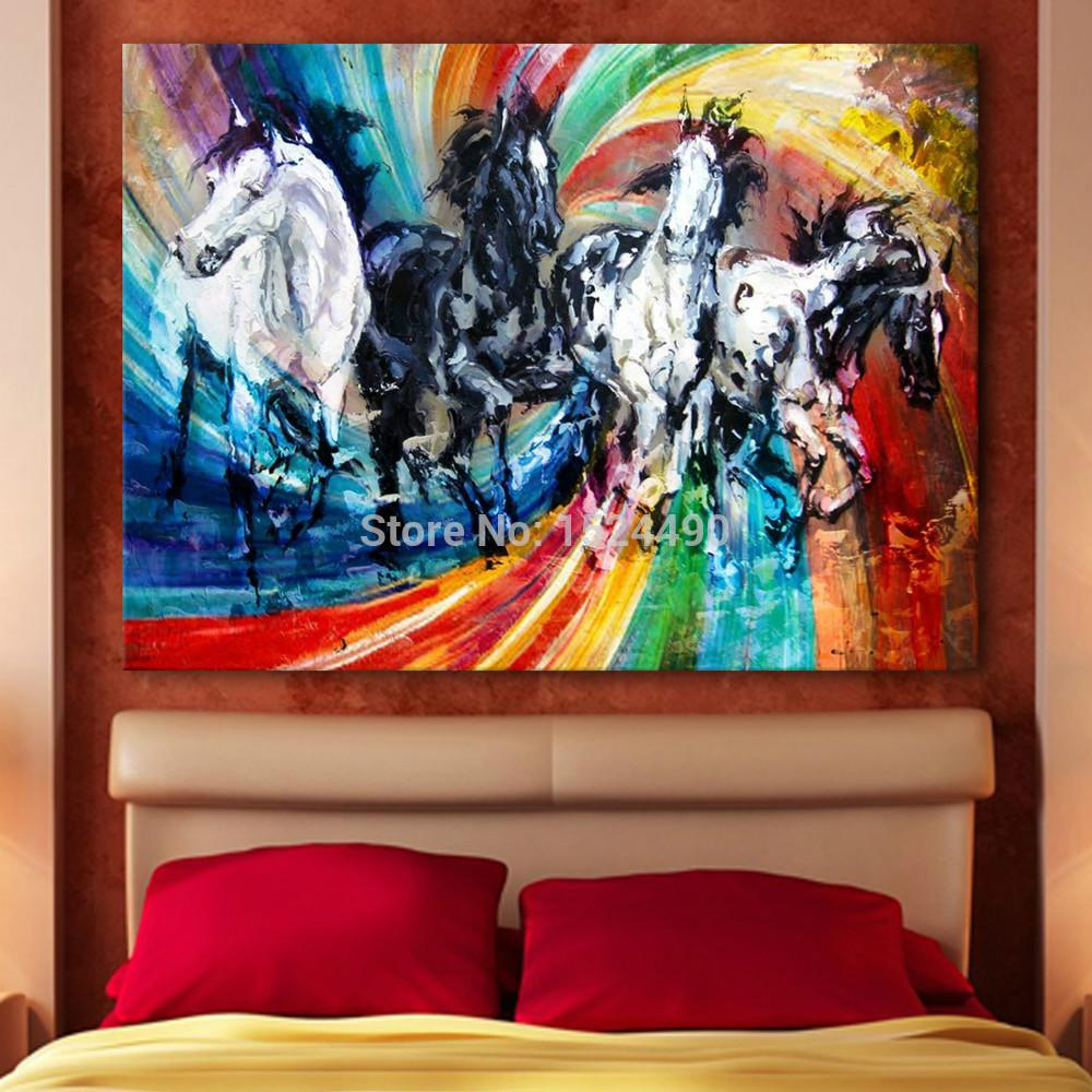 Hand Painted Animal Paintings For Room Decor Horse Instant Success Oil Painting On Canvas Hang Pictures On The Wall Craft