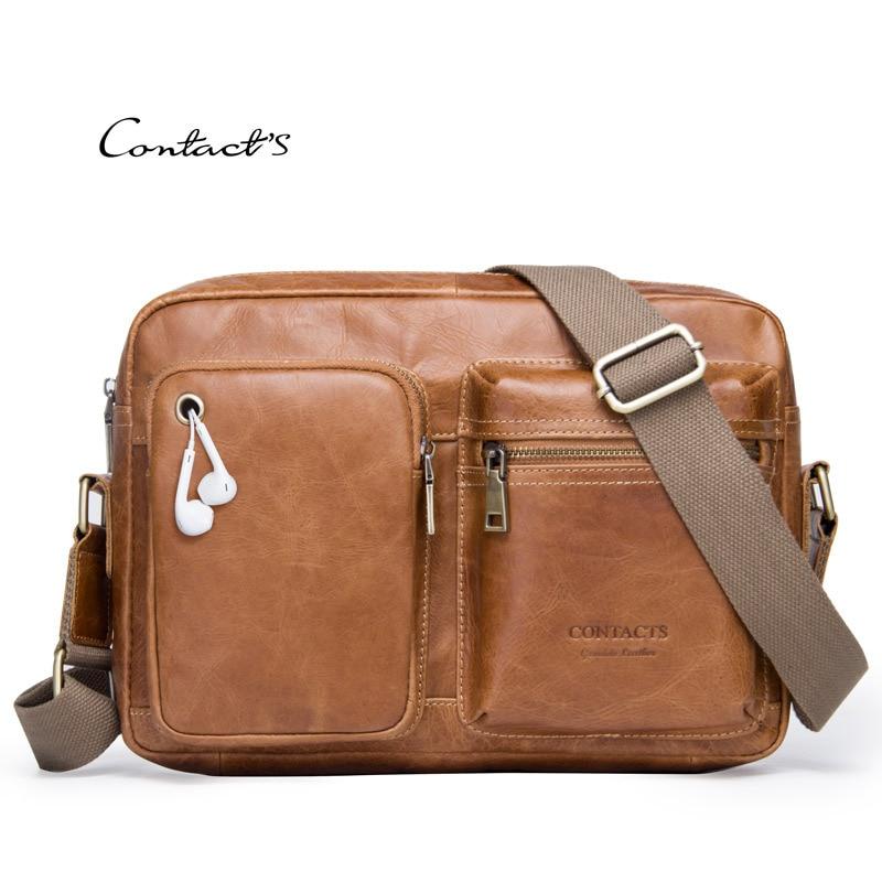 Male Handbags Satchels Cow Leather Shoulder Crossbody Messenger Bag Oil Wax Satchels Laptop Man Ipad Pack