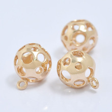 6PCS 12MM 24K Champagne Gold Color Plated Brass Round Hollow Ball Charms Pendants High Quality Diy Jewelry Accessories