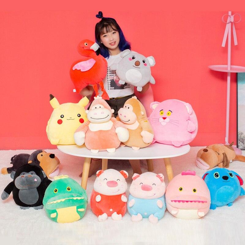 Cartoon image Pikachu chimp Dinosaur Flamingo Dog Koala Pink Panther Plush Toy Winter Hand Warmer Doll Plush Toy kids Pillow