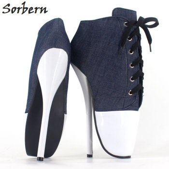 Sorbern Women Pumps Spike High Heel 18 CM BALLET Canvas+PU Leather Sexy Fetish Boots Pointed Toe Nightclub Dance Party Shoes image