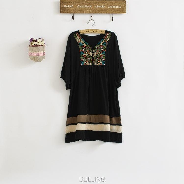Винтаж 70s деревенском стиле вышитые Мексиканская Платье в богемном стиле с длинным Vestidos Женская хлопковая блуза 11 видов цветов L размера плюс футболки; - Цвет: Черный