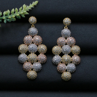 Lanyika Fashion Jewelry Simple Luxury Balls Rhombus Cubic Zircon Earrings Stud Micro Pave Engagement Popular Earring Best Gift