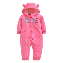 цена Autumn & Winter Newborn Infant Baby Clothes Fleece Jumpsuit Boys Romper Hooded Jumpsuit Bear Onesie Baby Bebe Menino Macacao