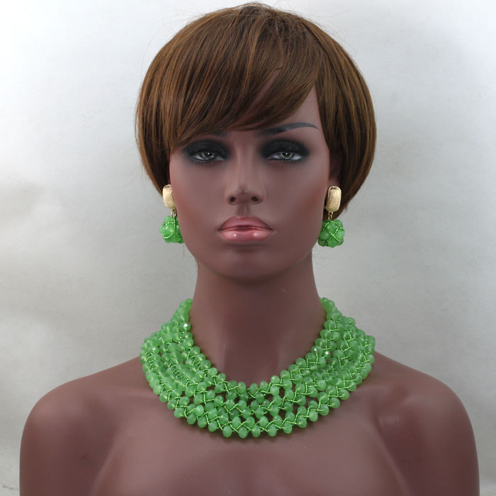Lovely Women  Gift Jewelry Lemon Green Crystal Nigerian Wedding African Beads Jewelry Sets Indian Necklace Free Shipping ABL499