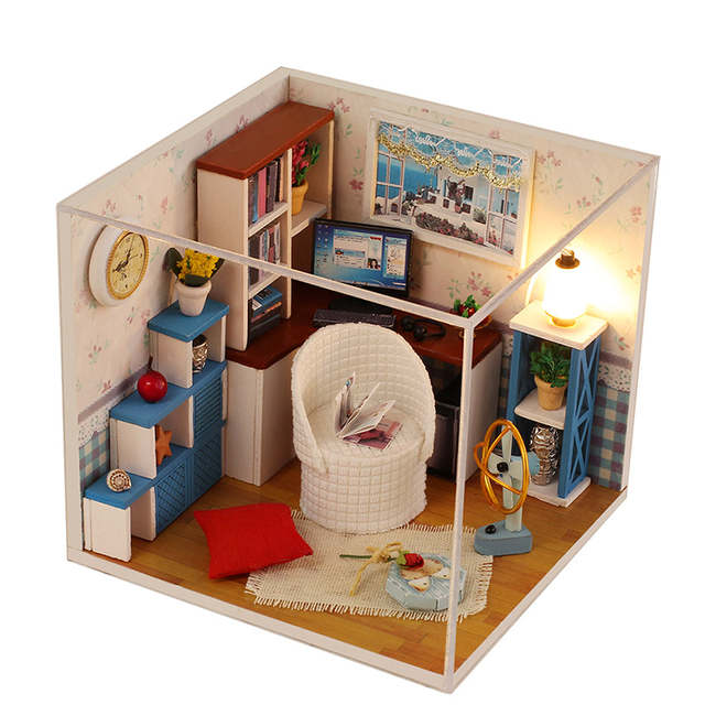 iiE CREATE 3D DIY Mini Wooden Educational Doll Houses Toy House Mini  Furniture Decorative Doll House Toys Puzzle Building Blocks
