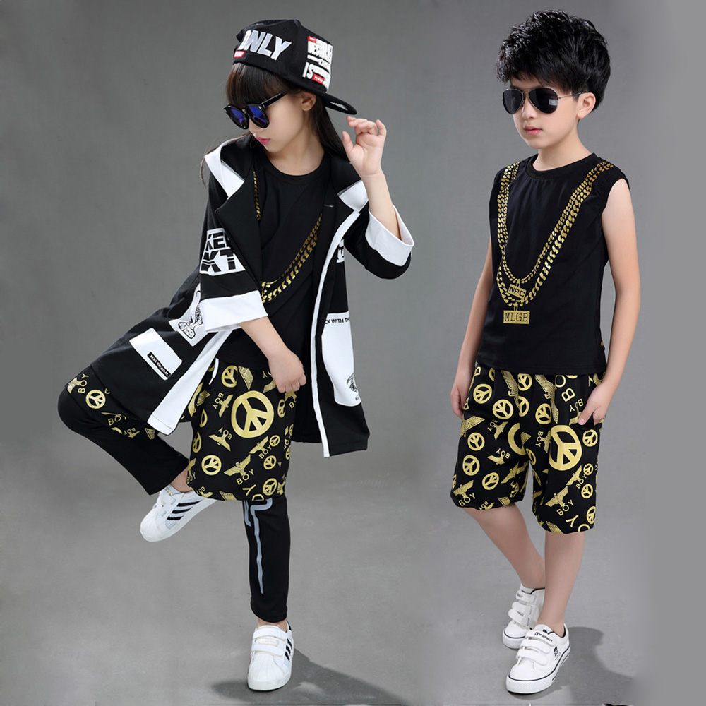 Children Boy Girl Sleeveless Black Gold Hip Hop Hiphop Ds Jazz Dance Costumes Ballroom Clothes Outfit