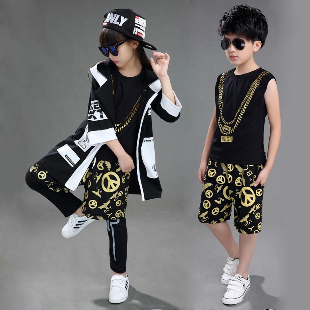 Children Boy Girl Sleeveless Black Gold Hip Hop Hiphop Ds Jazz Dance Costumes Ballroom Clothes Outfit